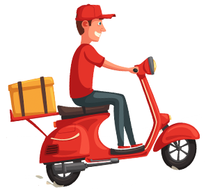 Delivery guy on motocycle
